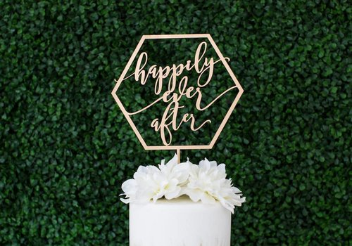 HAPPILY EVER ETCHED Geometric Happily Ever After Cake Topper, Wood