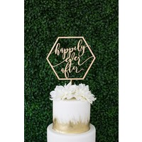 Geometric Happily Ever After Cake Topper, Wood