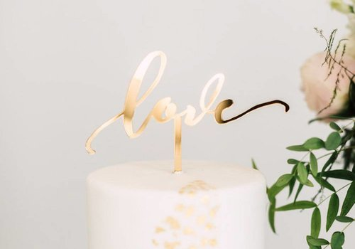 HAPPILY EVER ETCHED Love Cake Topper, Acrylic