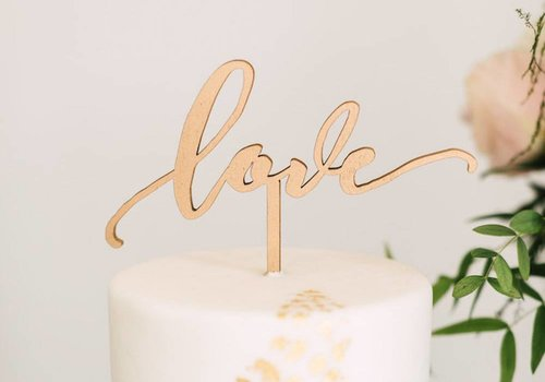 HAPPILY EVER ETCHED Love Cake Topper, Wood