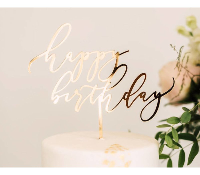 Elegant Happy Birthday Cake Topper, Acrylic