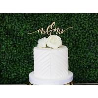 Modern Mr & Mrs Cake Topper, Wood