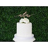HAPPILY EVER ETCHED Modern Mr & Mrs Cake Topper, Wood