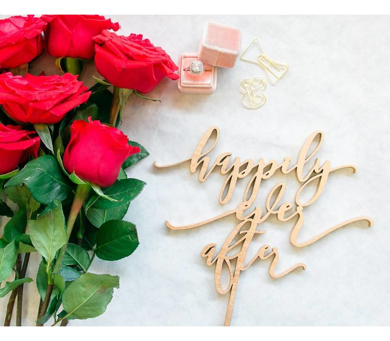 Modern Happily Ever After Cake Topper, Wood