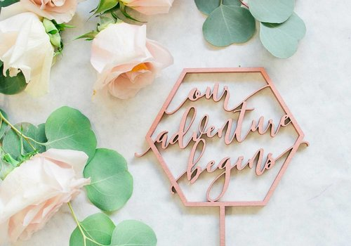 HAPPILY EVER ETCHED Geometric Our Adventure Begins Cake Topper, Wood