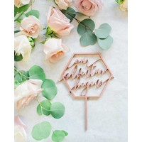 Geometric Our Adventure Begins Cake Topper, Wood