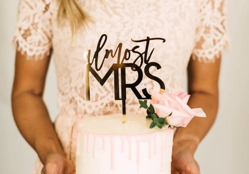 HAPPILY EVER ETCHED Almost Mrs Cake Topper, Acrylic