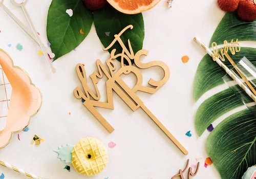 HAPPILY EVER ETCHED Almost Mrs Cake Topper, Wood