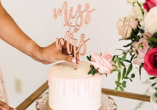 HAPPILY EVER ETCHED Miss to Mrs Cake Topper, Wood