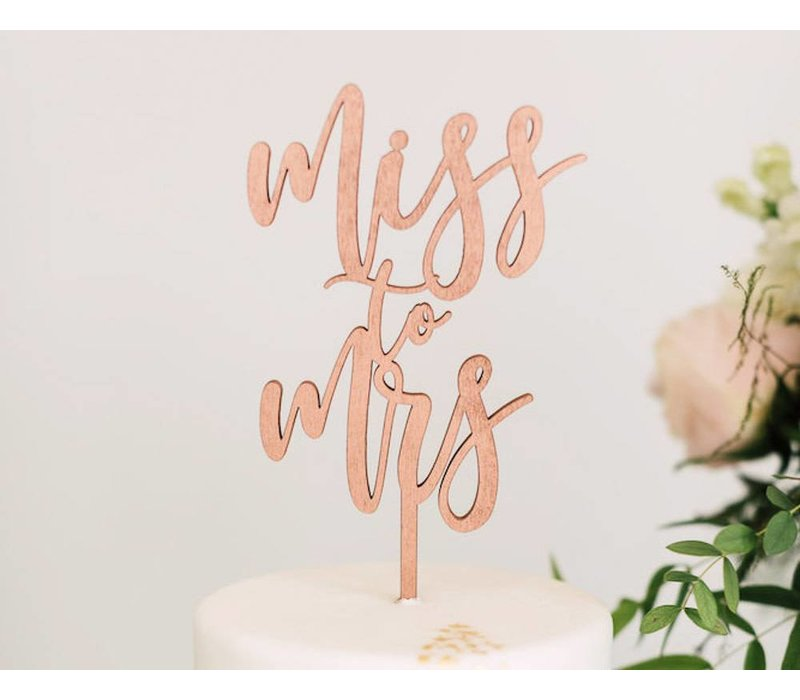Miss to Mrs Cake Topper, Wood