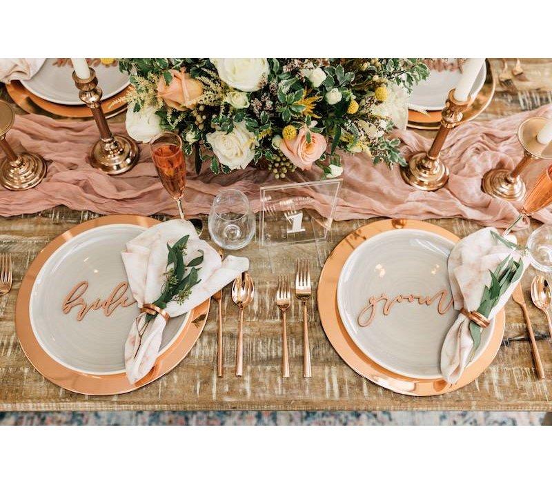 Elegant Bride & Groom Place Cards, Wood