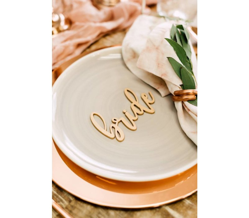 Blushing Bride & Groom Place Cards, Wood