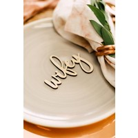 Blushing Wifey & Hubby Place Cards, Wood