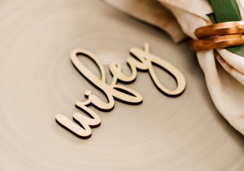 HAPPILY EVER ETCHED Blushing Wifey & Hubby Place Cards, Wood