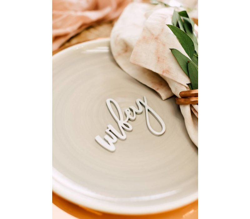 Trendy Wifey & Hubby Place Cards, Wood