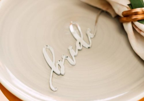 HAPPILY EVER ETCHED Modern Bride & Groom Place Cards, Acrylic