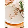 HAPPILY EVER ETCHED Elegant Bride & Groom Place Cards, Wood