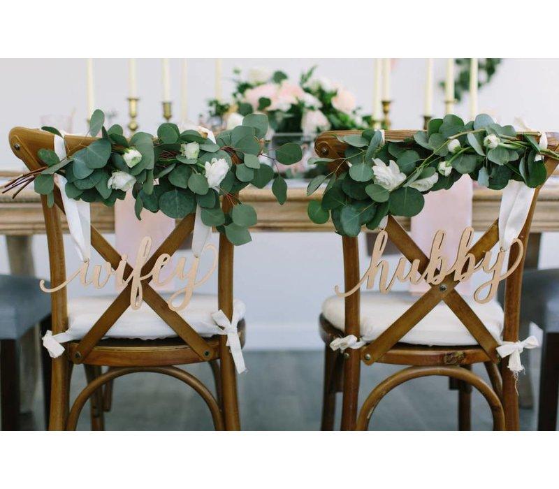 Feminine Wifey & Hubby Chair Signs, Wood