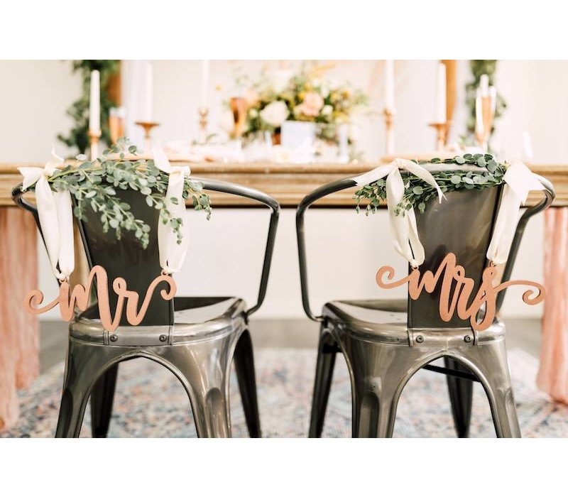 Blushing Mr & Mrs Chair Signs, Wood