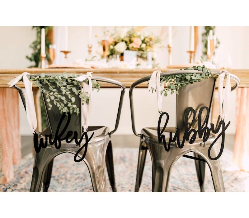 Trendy Wifey & Hubby Chair Signs, Acrylic
