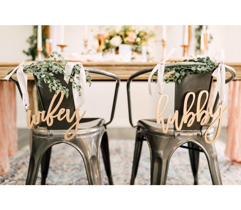 Trendy Wifey & Hubby Chair Signs, Wood