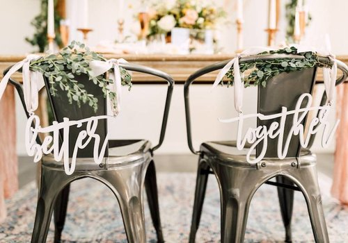 HAPPILY EVER ETCHED Trendy Better Together Chair Signs, Acrylic
