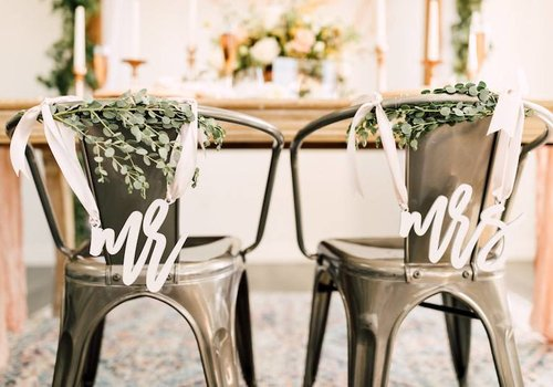 HAPPILY EVER ETCHED Trendy Mr & Mrs Chair Signs, Acrylic
