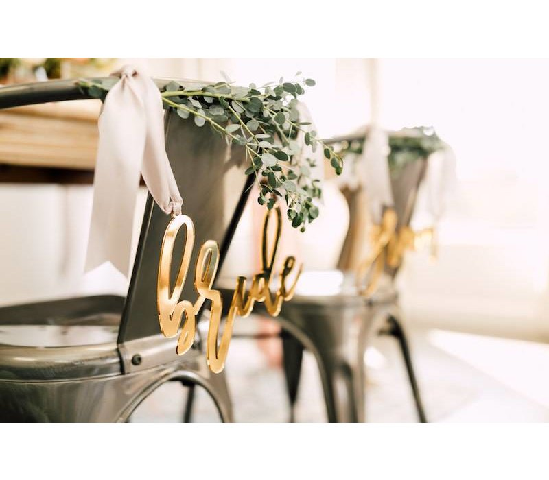 Trendy Bride & Groom Chair Signs, Acrylic