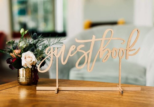 HAPPILY EVER ETCHED Guestbook Table Sign, Wood