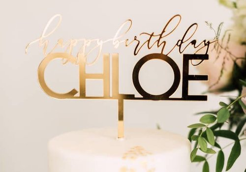 "HAPPILY EVER ETCHED 8"" Custom Elegant Birthday Cake Topper, Acrylic"