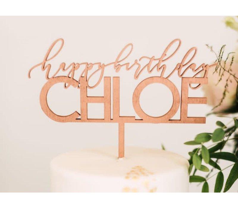 "8"" Custom Elegant Birthday Cake Topper, Wood"