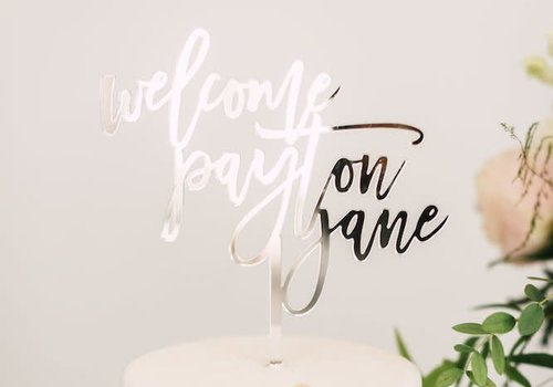 """HAPPILY EVER ETCHED 7"""" Custom Welcome Baby Cake Topper, Acrylic"""
