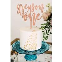 "7"" Custom First Birthday Cake Topper, Wood"