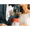 """HAPPILY EVER ETCHED 8"""" Custom Bold Wedding Cake Topper, Acrylic"""