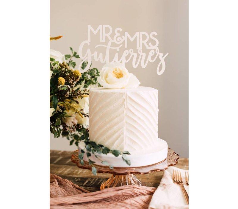 """8"""" Custom Blushing Wedding Cake Topper, Acrylic"""
