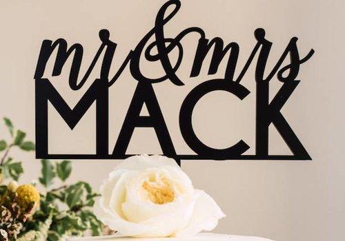 "HAPPILY EVER ETCHED 8"" Custom Feminine Wedding Cake Topper, Acrylic"