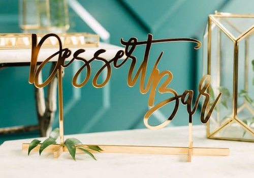 HAPPILY EVER ETCHED Dessert Bar Table Sign, Acrylic