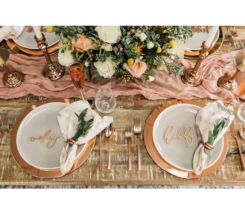 Elegant Wifey & Hubby Place Cards, Wood