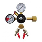 "Beer and Wine Dual Gauge CO2 Regulator-Two Shut-Offs/Two 1/4"" Barb"