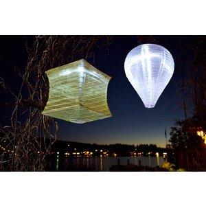Yard and Garden Art Square Soji Silk Effects Lantern - Pearl