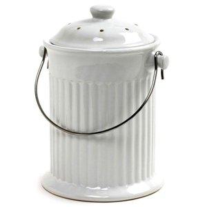 Organic Gardening White Ceramic Counterop Compost Crock
