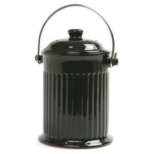Outdoor Gardening Black Ceramic Countertop Compost Crock