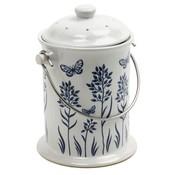 Outdoor Gardening Blue & White Ceramic Compost Crock