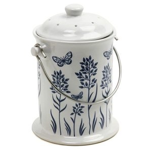 Outdoor Gardening Blue & White Ceramic Compost Crock