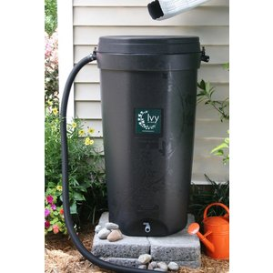 Outdoor Gardening Black Ivy Rain Barrel - 50 Gallon