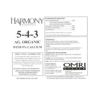 Organic Gardening Harmony 5-4-3 - 50 lb