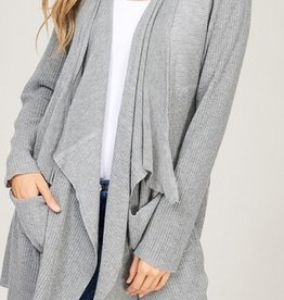 Ribbed Knit Open Cardi