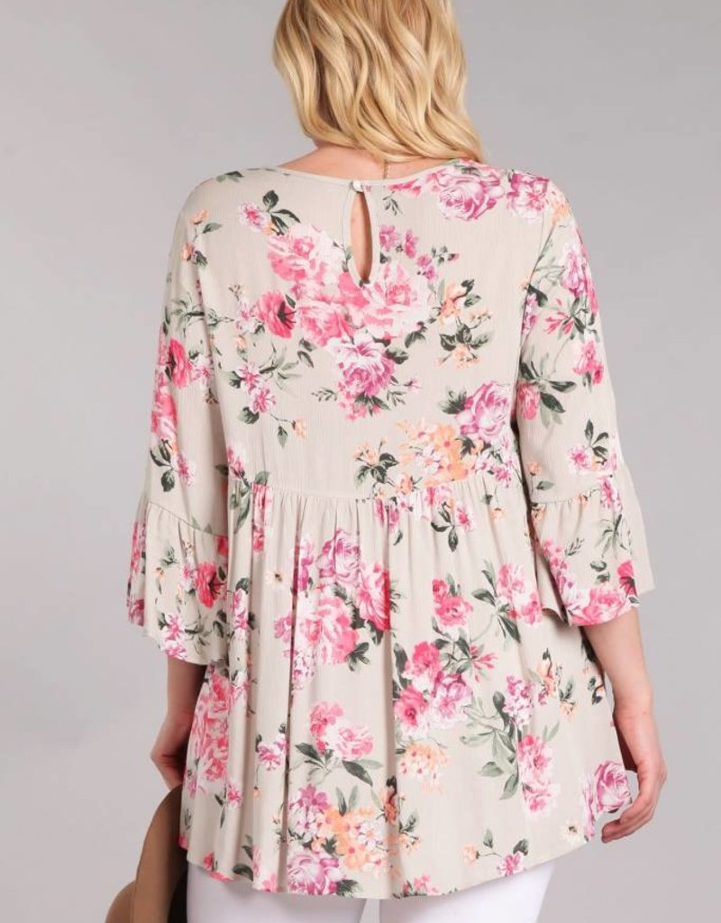 Floral 3/4 Bell Sleeve Blouse