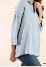 Chambray Slip-on Blouse