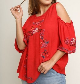 Floral Embroidered Puff Sleeve Top